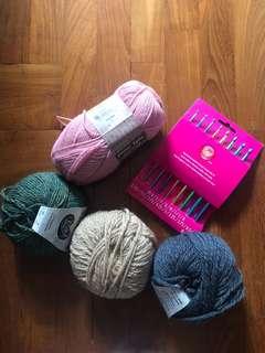Knitting Yarns + crochet hook set