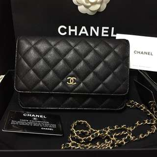 (有單)Chanel 暗花字啞金扣wallet on chain WOC