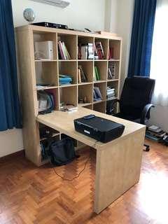 Home Office Desk, Shelves & Executive Chair