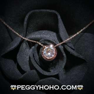 【Peggyhoho】 全新18K玫瑰金((單粒45份))鑽石頸鏈|經典系列 |簡約包邊鑲