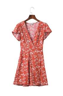 🚚 Floral Brick Red Wrap Dress