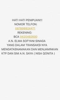 PENIPU ATAS NAMA ELMA SOFYANI SINAGA. JUAL IPHONEX SAMSUNG S9 SAMSUNG S8