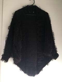Black furry batwing cardigan jacket