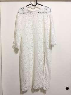 正韓 蕾絲鏤空罩衫洋裝