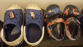 Boys shoes- crocs and adidas slipper