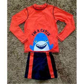 BLC EUC 2pc Boys Rashguard Swimwear / Swimsuit Orange Shark 8T