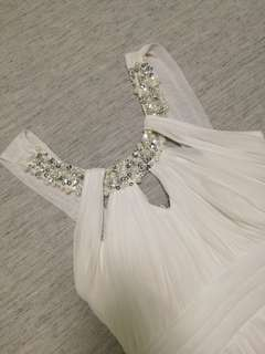 White Chiffon Gown with Bead Detail