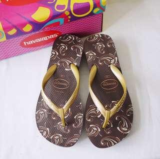 🚚 巴西品牌havaianas哈瓦仕咖啡色金色變形蟲造型前高後高後底夾腳拖鞋涼鞋36/USA5/EUR38附鞋盒