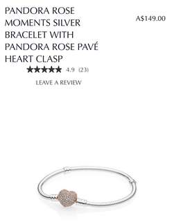 Pandora Rose moments silver bracelet with pandora rose pave heart clasp