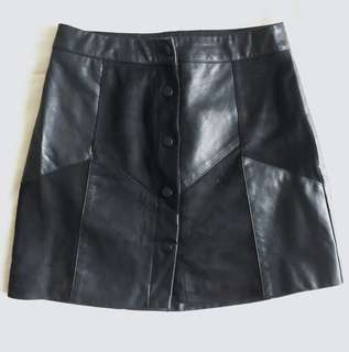 F21 Black Leather Skirt