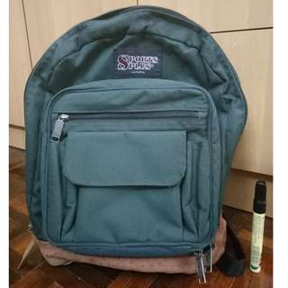 USED Olympia Sports Plus Backpack Bag Green Back Pack