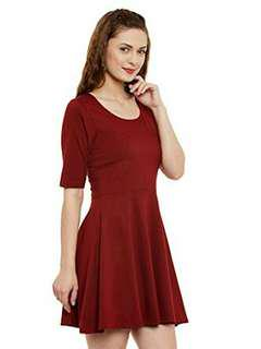 Fit and flare skater dress maroon