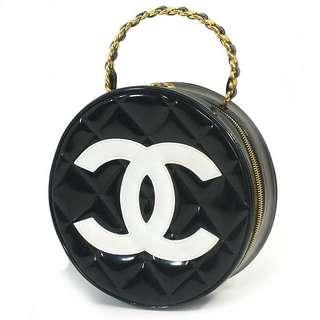 Vintage Chanel漆皮菱格圓形复古鏈條手提包 直徑21cm