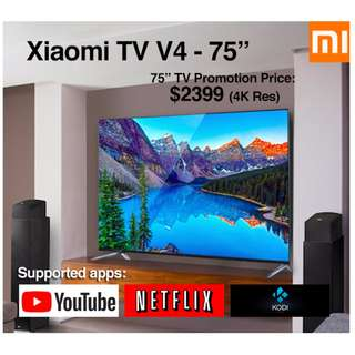 "TV Xiaomi Android TV V4 75"" Build in Mitv Box (Ready Stock)"