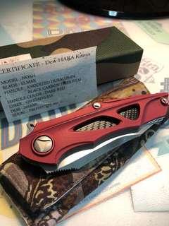 "Dew Hara Custom Noah Prototype 001 Flipper 3.375"" Mirror Polished Elmax Blade, Dark Red DuraluminHandles"