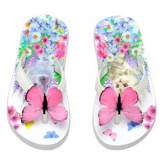 BLC Bnwot Auth H&M White Patterned Butterfly Flipflops US 10-11