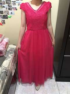 pink fuchsia / shocking pink party dress