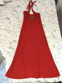Isanti Couture Red Formal Halter Long Gown with Beads