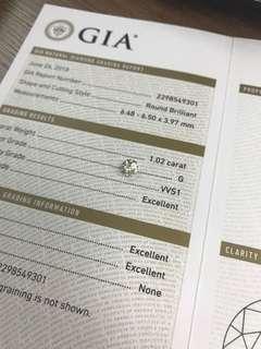 GIA 鑽石 1.02 G VVS1 3EX N