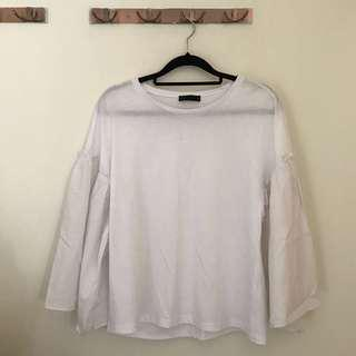 White Frilled Top