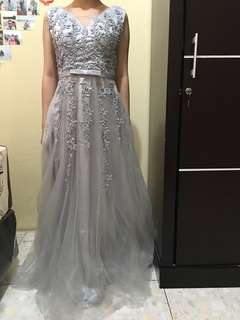 silver grey dress party