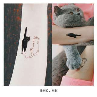 #006 黑白貓咪紋身貼