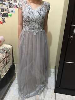 silver grey party dress