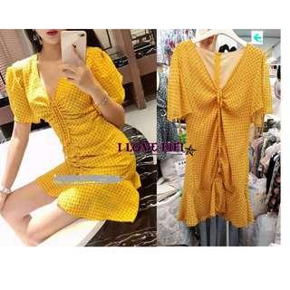 ❤FIFI❤Korea韓國連線(商品皆於100%正韓高質感商品)超美歐逆雪紡黃色抽繩V領包臀修飾洋裝