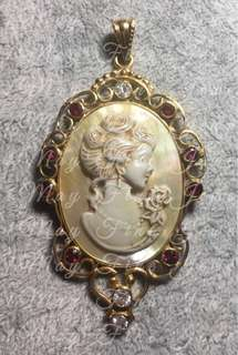Cameo Mother of Pearl with Diamonds, Rubies, and Gold Setting