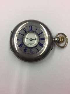 英國1889年藍色燒青字full Hunter 銀膊頭較針上錬袋表