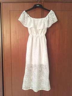 Sabrina Long Dress Putih
