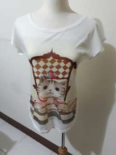 🚚 兩款 好搭 女生 可愛 小貓 貓咪 短袖 圓領 上衣 t恤 白色 休閒   M號#女裝半價拉