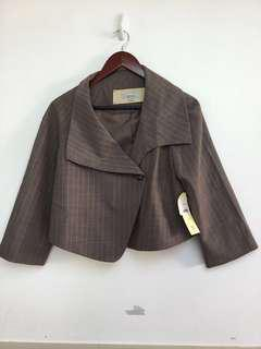 Veronika Maine Au 10 Wool Blend Brown Stripe Office Merino Crop Jacket