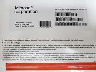 全新未拆Windows Pro 10 專業版 64 bit 原裝正版軟件OEM 繁體中文版 Full Version Win10 正版