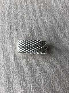 Tiffany 織網純銀戒指