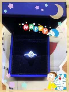 GIA証書 半卡梨形鑽石戒指