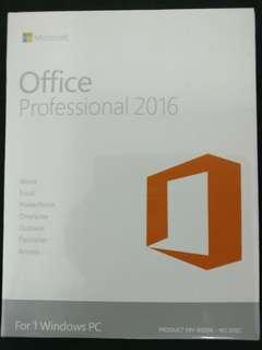 全新未開封原裝正版MicrosoftOffice 2016professional 專業版 軟件 OEM key 中英文, 一用戶