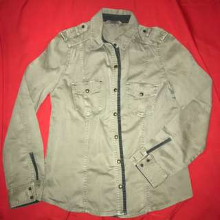 Zara Heavy Cotton Shirt - Long sleeved Olive green Medium