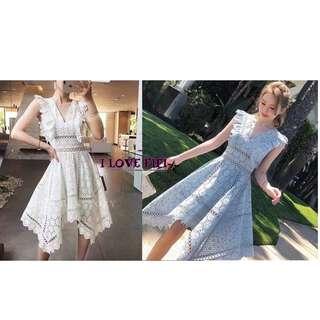 ❤FIFI❤Korea韓國連線(商品皆於100%正韓高質感商品)不規則下擺布蕾絲短袖女神洋裝 水藍 白