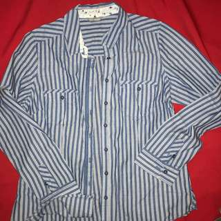 M&S soft cotton long sleeved striped shirt with floral accents