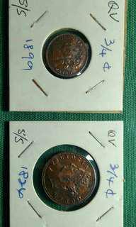 3/4 Cents Straits Settlements Coins