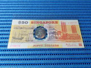 """Error 1990 Singapore 25 Years of Independence $50 Commemorative Banknote A 100712 with Folder. Error Faded """"1990"""" Year"""