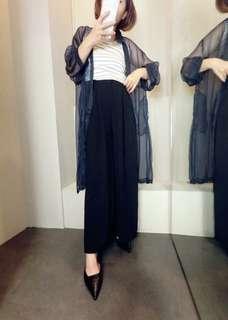 🚚 歐美韓系白色藍色黑色長袖透視遮陽防曬文青長版襯衫罩衫外套文青氣質女神風大尺碼