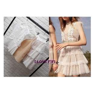 ❤FIFI❤Korea韓國連線(商品皆於100%正韓高質感商品)超美白色雕花上衣裙子腰帶內搭SET組洋裝