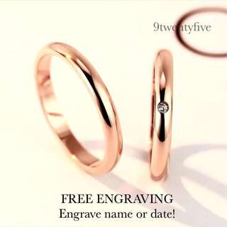 SCPR-301 • JOLLIE ROSE GOLD Wedding Love Band Rings• FIXED SIZE