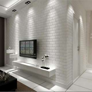 🚚 1 Roll of 3D Pure White Bricks Effect wall paper for sale