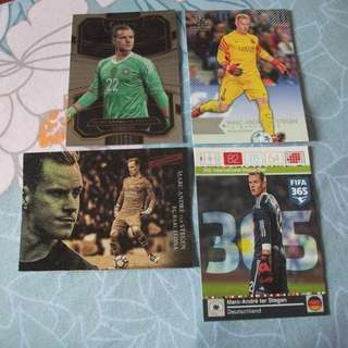 Marc Andre Ter-Stegen Germany/Barcelona Topps/Panini trading cards for sale/trade (Lot of 4 cards)