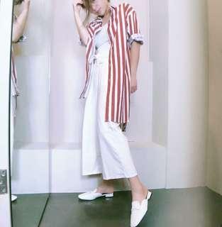 🚚 韓系歐美橘色直條短袖長版造型襯衫外套懶人文青風大碼防曬陽