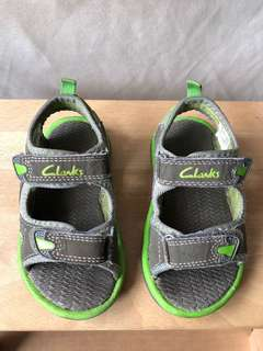 Clarks Kids Green/Grey Sandals