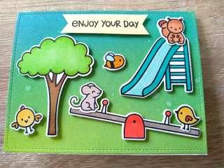 Handmade card for all occasions (birthday, congratulations, teacher's day, graduation, etc) - playgtound animals